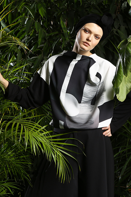 MODGREY Siyah Japon Baskılı Degaje Bluz