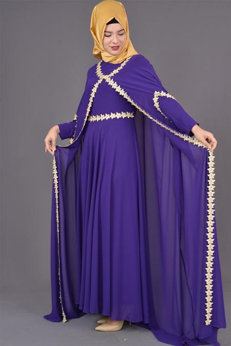 Mor Güpürlü Şifon Pelerinli Abiye Elbise