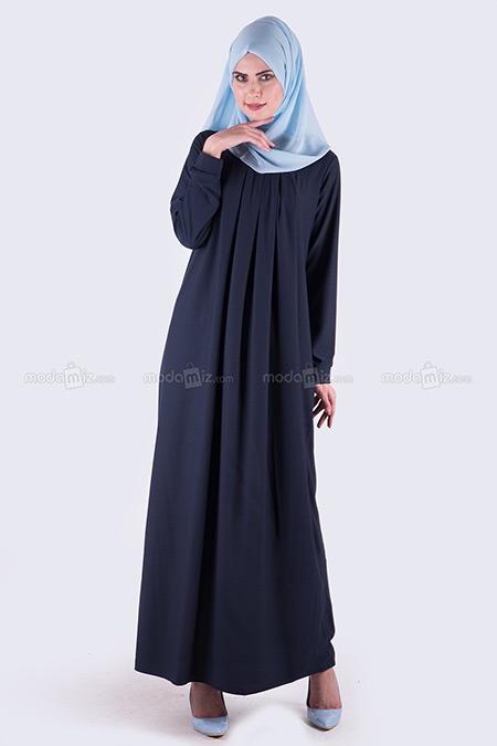 Modamız Lacivert Pileli Elbise