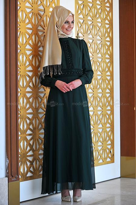 Modamız Zümrüt Şifon Elbise