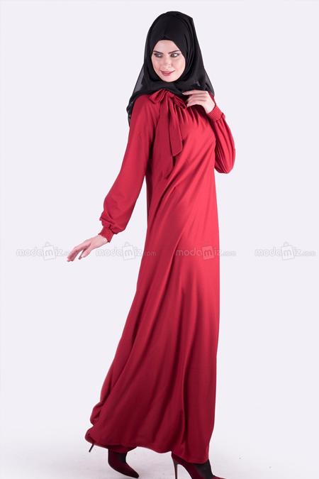 Modamız Bordo Lastikli Elbise