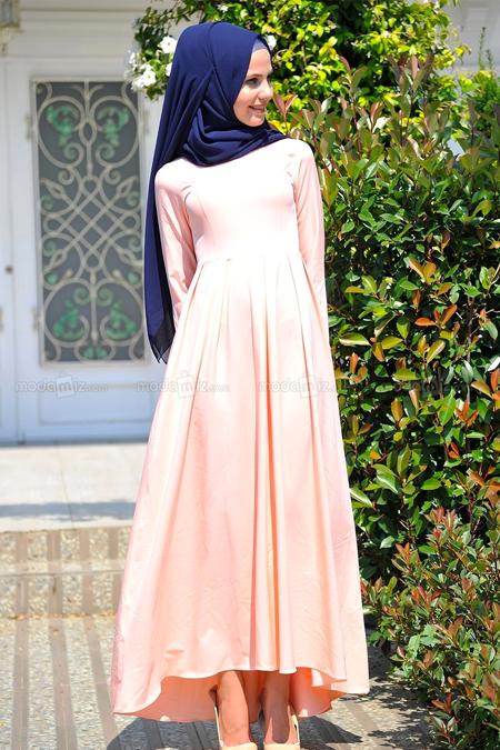 Modamız Pudra Kuyruklu Elbise