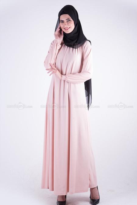 Modamız Pudra Lastikli Elbise