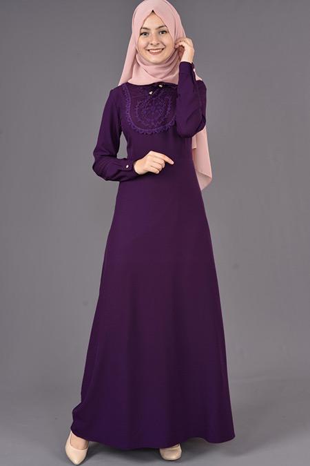 Mor Yaka Bağcıklı Elbise