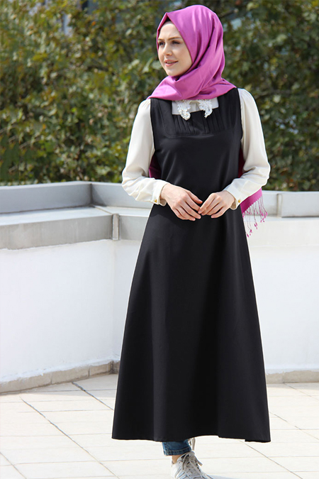 Night Blue Collection Siyah Nervürlü Jile Elbise