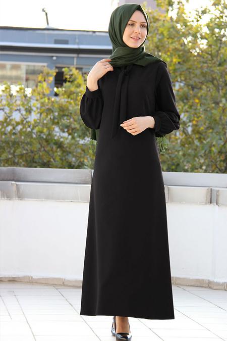 Night Blue Collection Siyah Yakası Bağcıklı Elbise