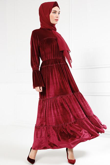 Refka Bordo Kadife Elbise