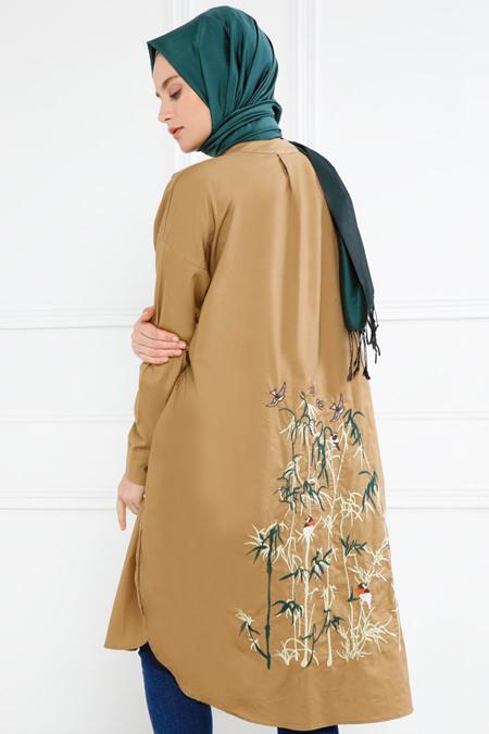 Refka Camel Doğal Kumaşlı Arkası Nakışlı Tunik