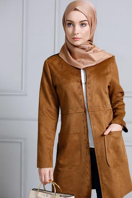 Refka Camel Trok Detaylı Süet Ceket