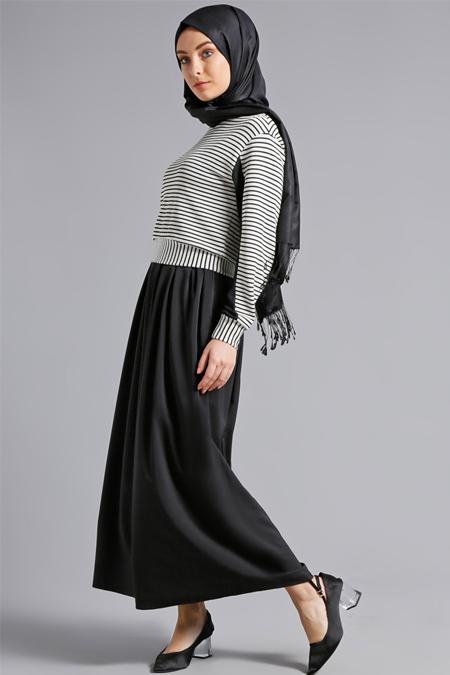 Refka Siyah Beyaz Çizgili Elbise