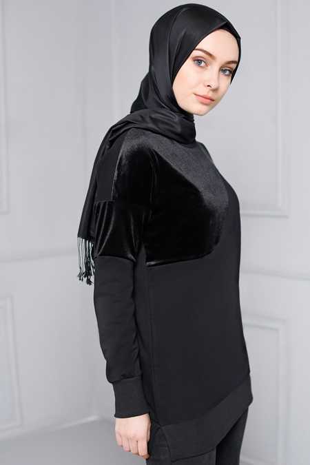Refka Siyah Kadife Detaylı Tunik