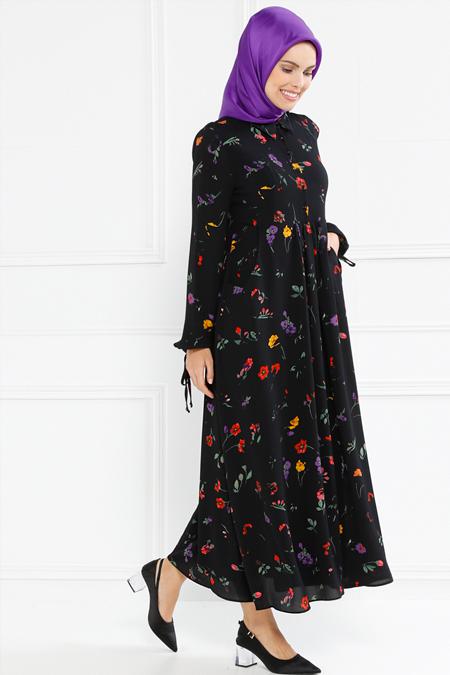 Refka Siyah Kol Detaylı Cepli Çiçekli Elbise