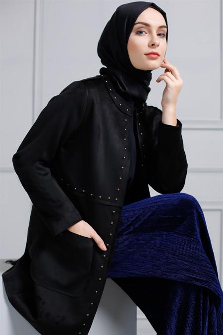 Refka Siyah Trok Detaylı Süet Ceket