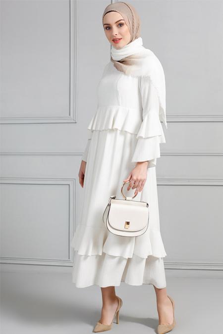 Refka Taş Doğal Kumaşlı Volanlı Elbise