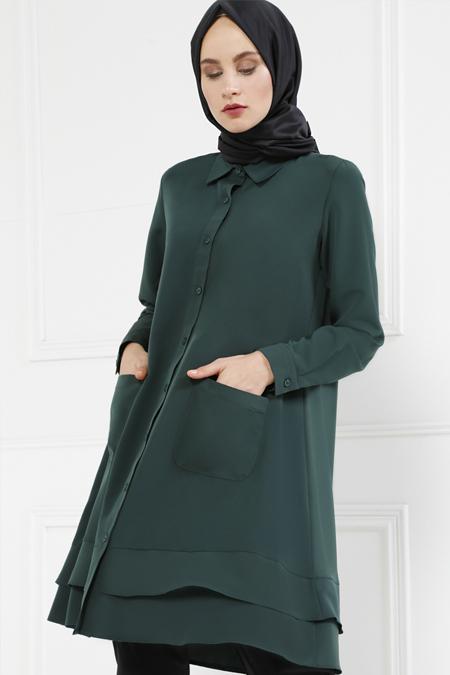 Refka Zümrüt Yeşili Boydan Düğmeli Tunik