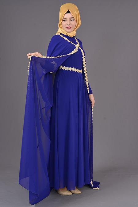 Saks Güpürlü Şifon Pelerinli Abiye Elbise