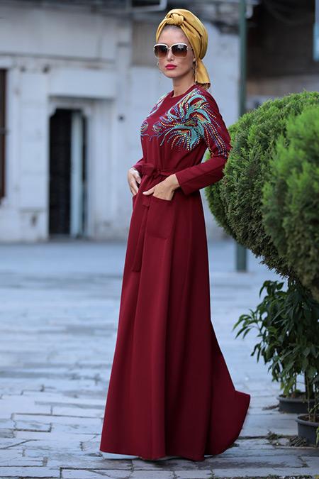Selma Sarı Design Bordo Amore Elbise