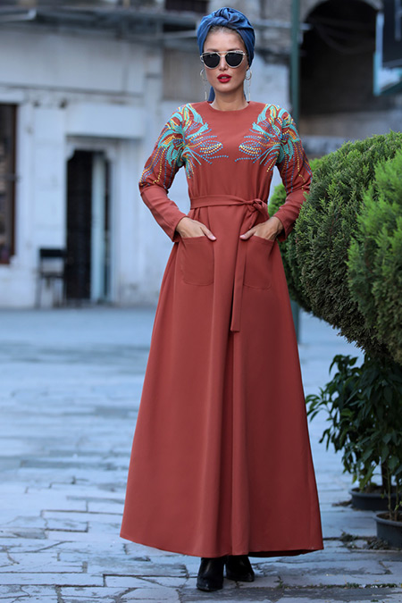 Selma Sarı Design Kiremit Amore Elbise
