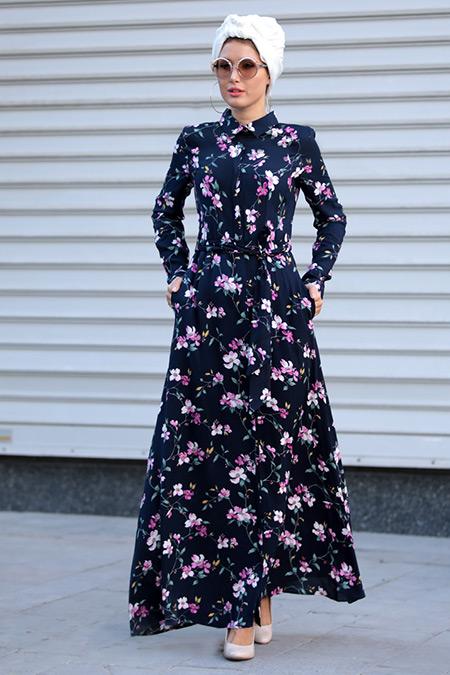 Selma Sarı Design Lacivert Pembe Yaren Elbise