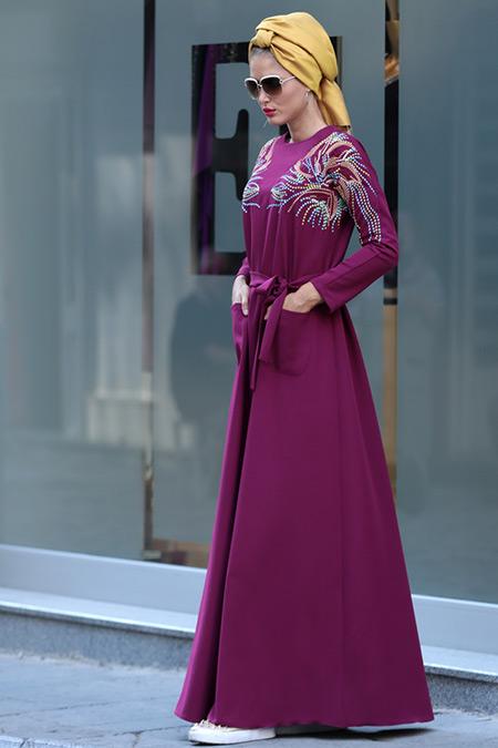 Selma Sarı Design Mürdüm Amore Elbise
