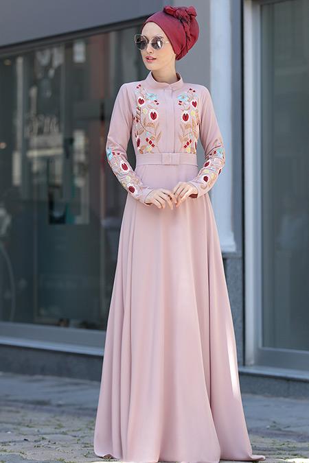 Selma Sarı Design Pudra Mila Elbise