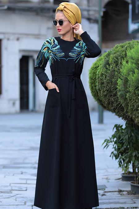 Selma Sarı Design Siyah Amore Elbise