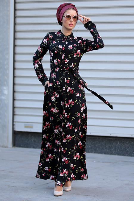 Selma Sarı Design Siyah Kırmızı Yaren Elbise