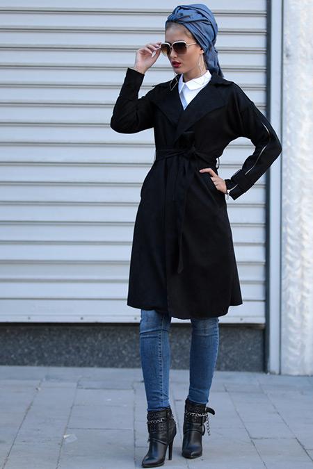 Selma Sarı Design Siyah Zirve Süet Trençkot