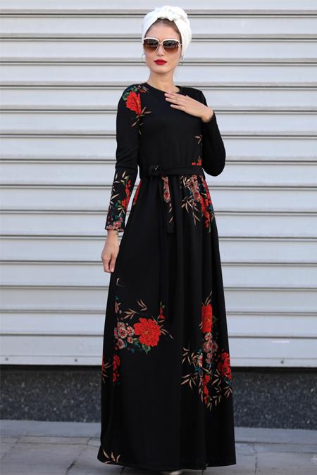 Selma Sarı Design Siyah Kahve Gonca Elbise