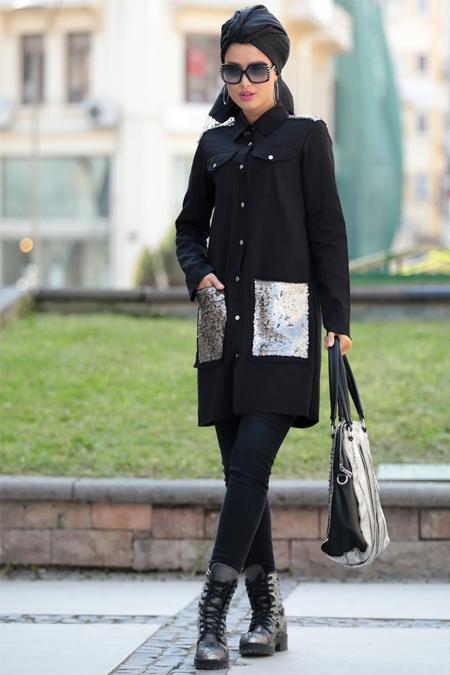 Selma Sarı Design Siyah Pul Payet Tunik