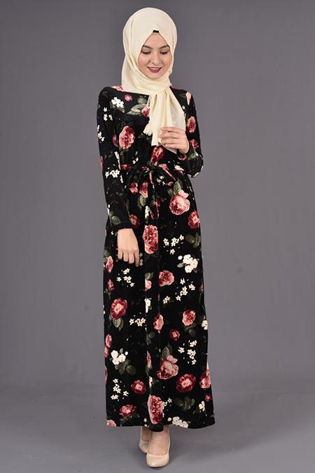Siyah Çiçek Baskılı Kadife Elbise