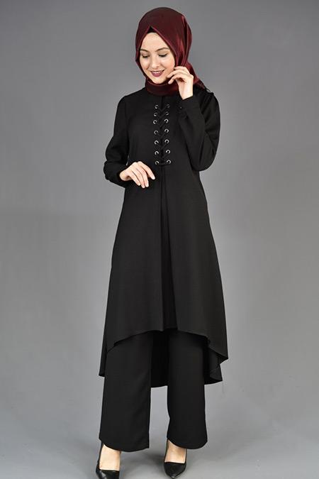 Siyah Bağcıklı Tunik Pantolon İkili Kombin