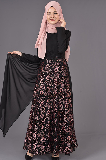 Siyah Pudra Dantelli Tesettür Elbise