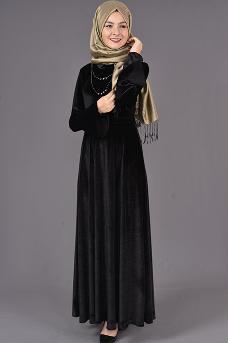 Siyah Valon Kol Kolyeli Kadife Elbise