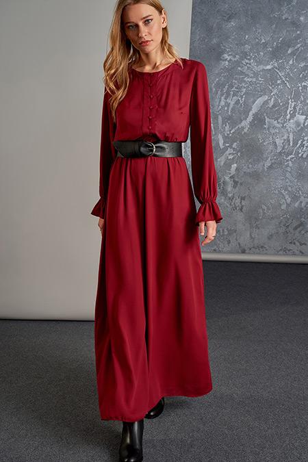 Vavist Bordo Maxi Elbise