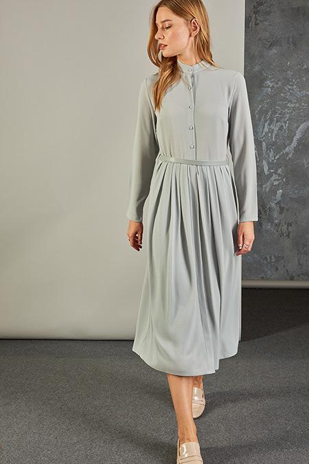 Vavist Gri Kemerli Elbise