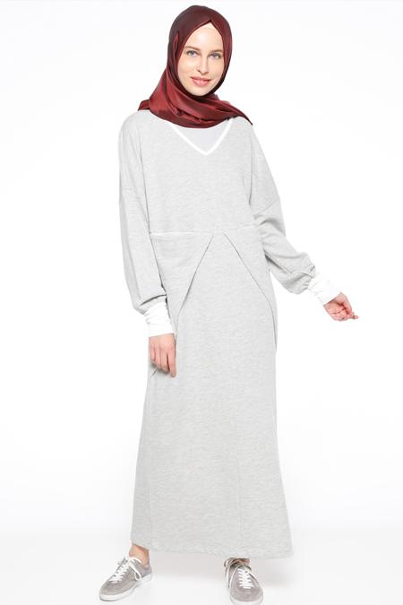 Zentoni Gri Cep Detaylı Elbise