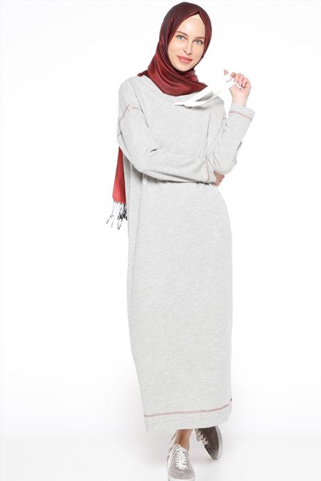 Zentoni Gri Yakası Bağcıklı Elbise
