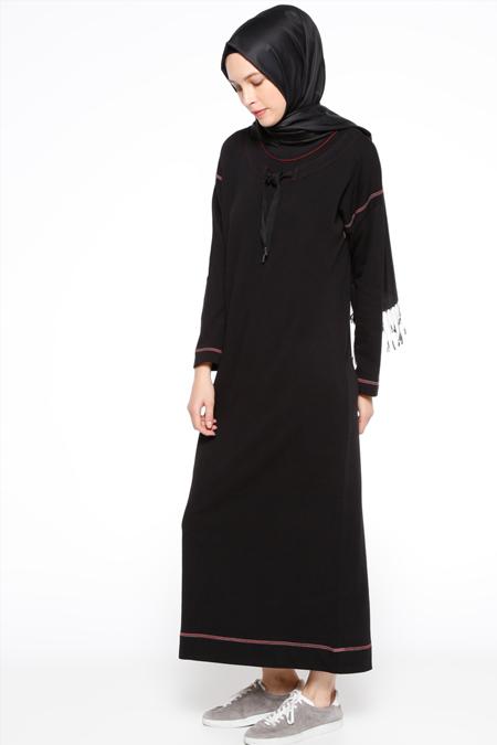 Zentoni Siyah Yakası Bağcıklı Elbise