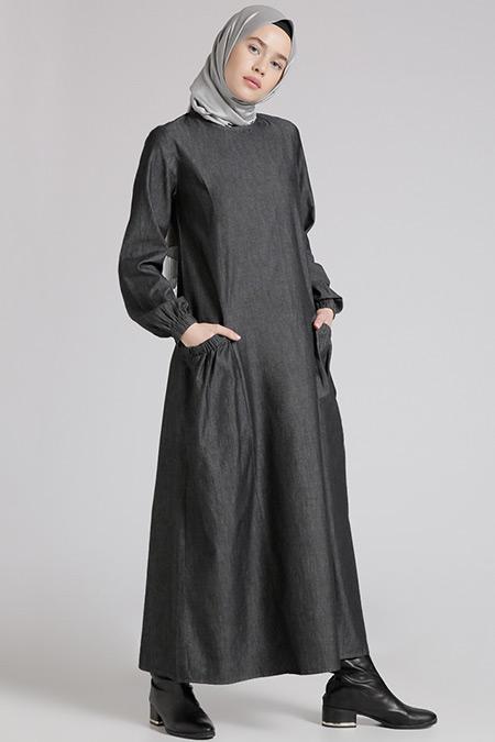 Benin Antrasit Doğal Kumaşlı Kot Elbise