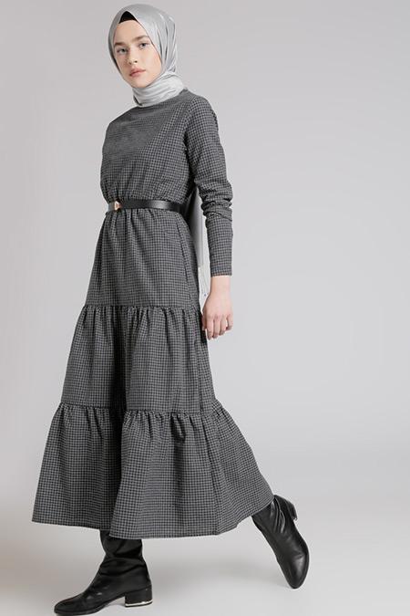 Benin Füme Beli Lastikli Elbise