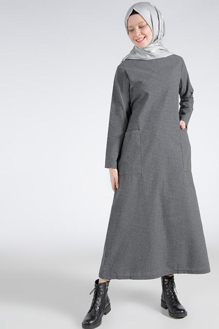Benin Füme Cep Detaylı Elbise