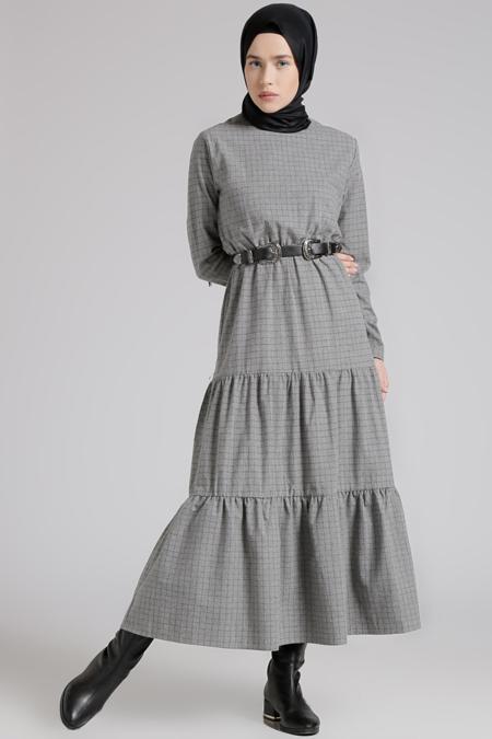 Benin Gri Beli Lastikli Elbise