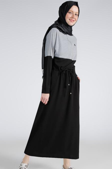 Benin Gri Siyah Doğal Kumaşlı Garnili Elbise