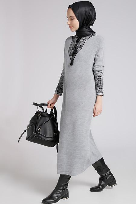 Benin Gri Siyah Triko Elbise