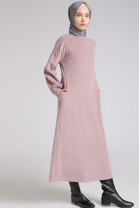 Benin Gül Kurusu Cep Detaylı Elbise
