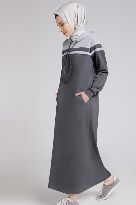Benin Koyu Gri Kapüşonlu Elbise
