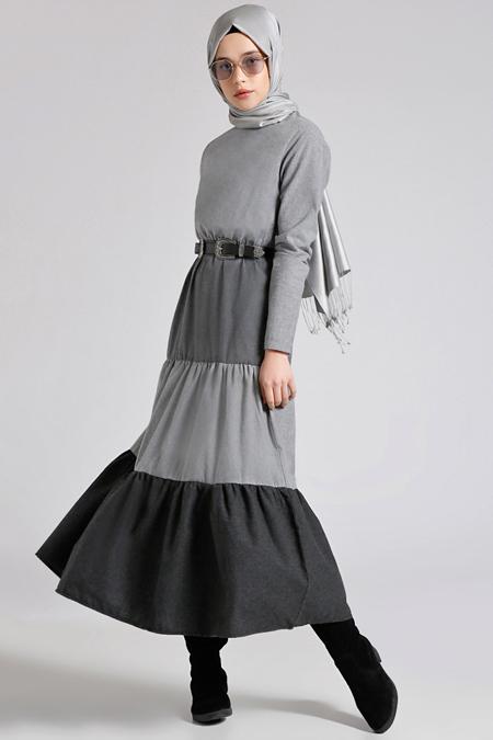 Benin Siyah Gri Beli Lastikli Elbise