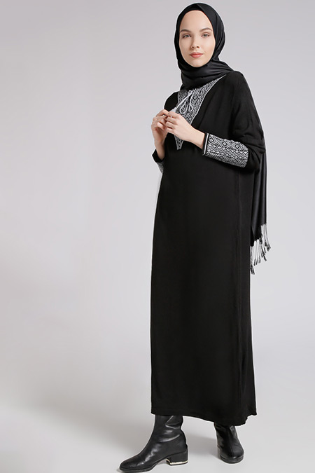 Benin Siyah Gri Triko Elbise