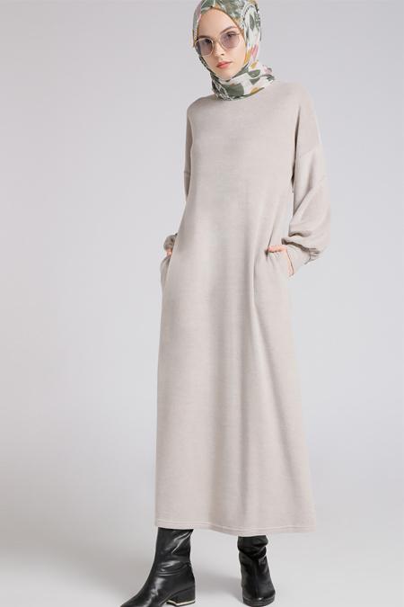 Benin Taş Cep Detaylı Elbise